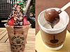 (左)小田急限定、チョコレートブラウニーBOBAボンボン、(右)ホットスティックチョコレート(ミルク付き)