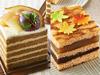 ほうじ茶のオペラ風ショートケーキ(左)、5層とら焼き(右)