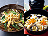 あんかけきつねそば(左)、西武池袋本店限定 野菜とすっぽんだし丼(右)
