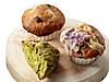 スパイシーキャロットケーキ(奥)、小田急限定_抹茶と栗とクルミ(手前左)、紫芋&豆乳ダブルチーズ(手前右)