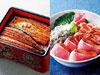うな重・竹(左)、静岡海鮮ごちそう丼(右)