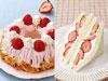 紅ほっぺのストロベリークランツ(左)、あまおうのショートケーキ(右)