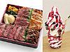 道産熟成牛と牛・豚肉満載弁当(左)、十勝ハスカップサンデー(右)